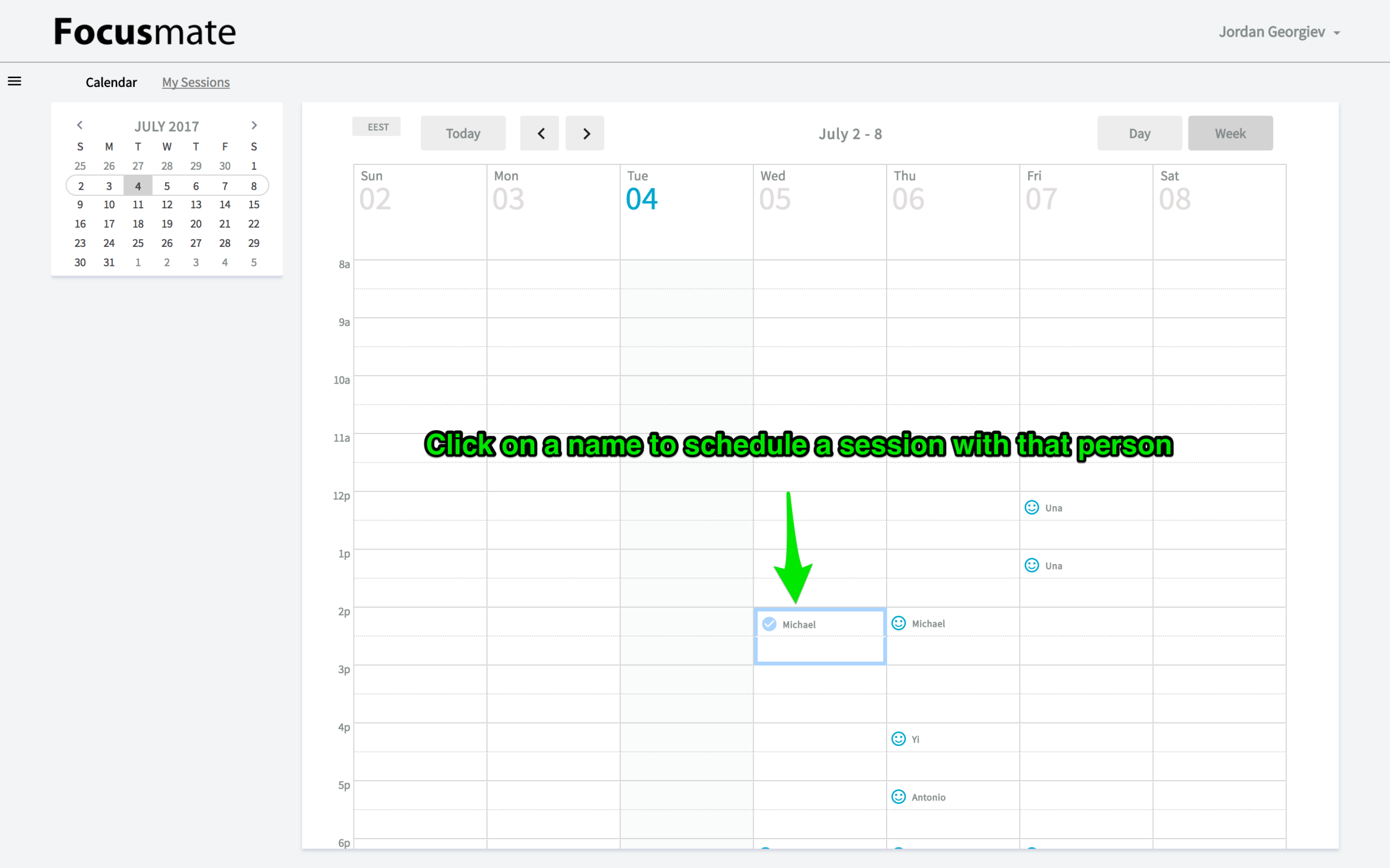 Focusmate: Schedule a session with someone else